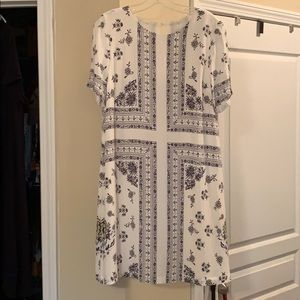 LOFT cream dress with floral print, Size Medium